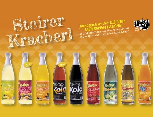 Steirer Kracherl jetzt auch in der 0,5 Liter Mehrwegflasche mit Drehverschluss erhältlich